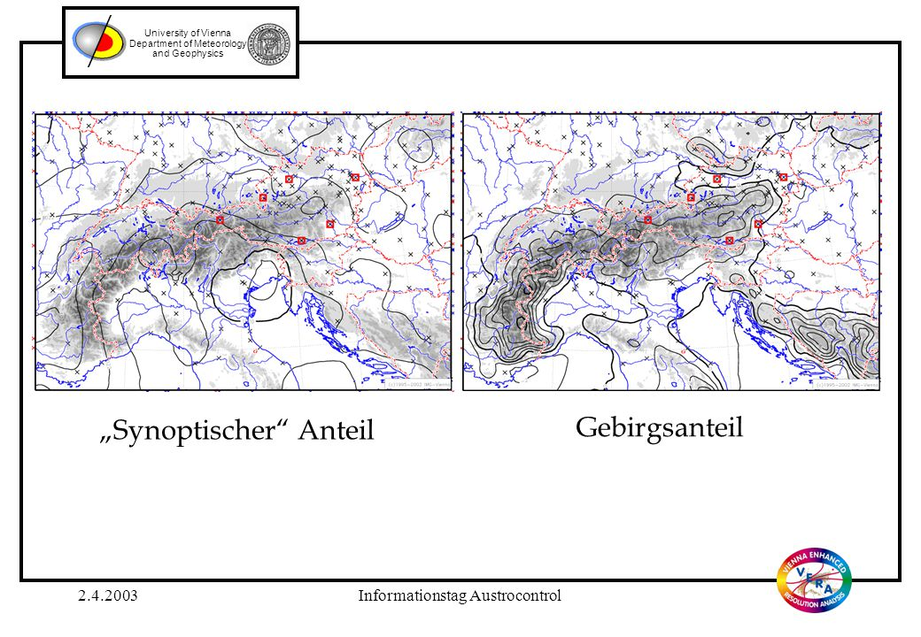 "2.4.2003Informationstag Austrocontrol University of Vienna Department of Meteorology and Geophysics ""Synoptischer"" Anteil Gebirgsanteil"