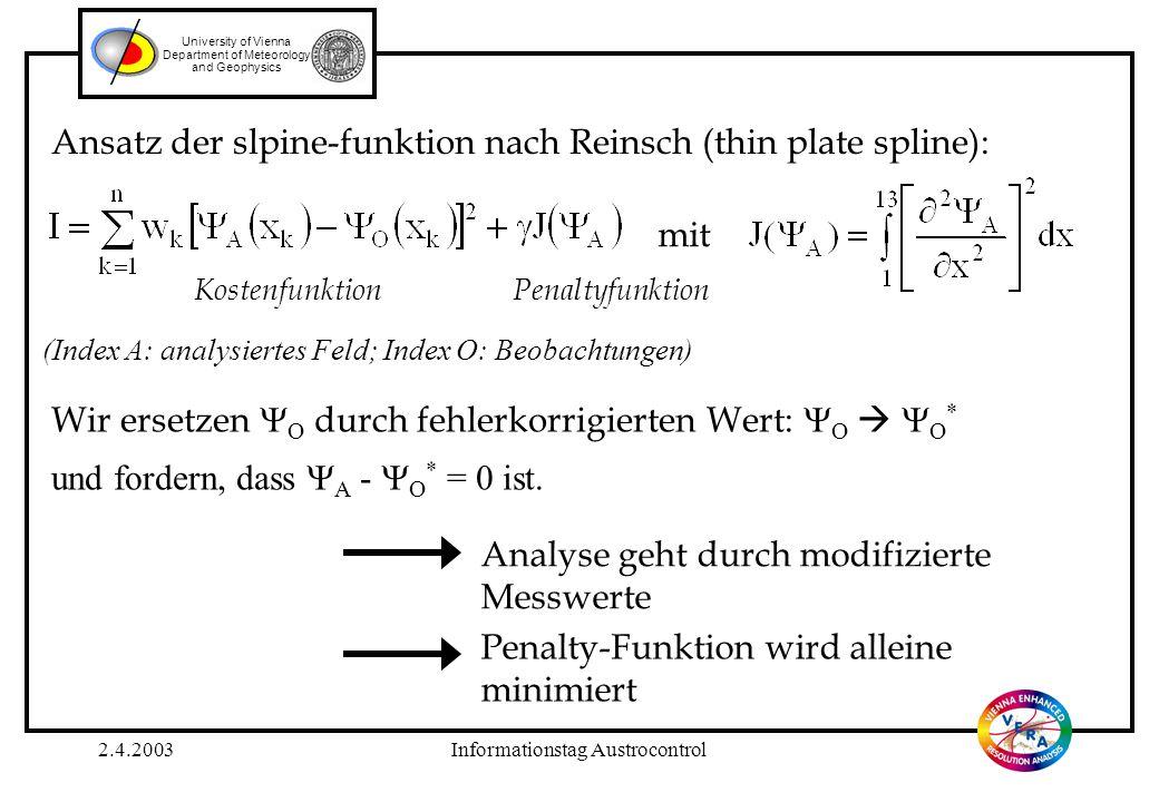 2.4.2003Informationstag Austrocontrol University of Vienna Department of Meteorology and Geophysics stationPMSLstationPMSL 11025.961022.4 21021.371022.5 31020.381023.4 41021.391023.8 51023.9