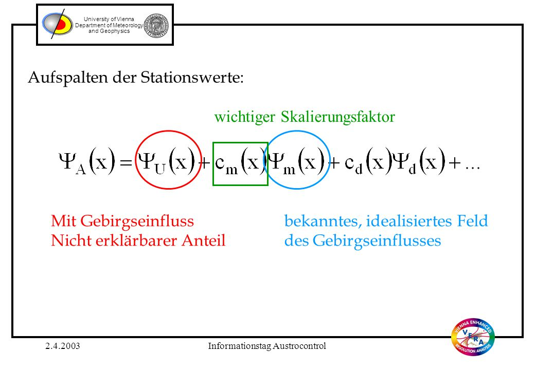 2.4.2003Informationstag Austrocontrol University of Vienna Department of Meteorology and Geophysics Aufspalten der Stationswerte: Mit Gebirgseinfluss