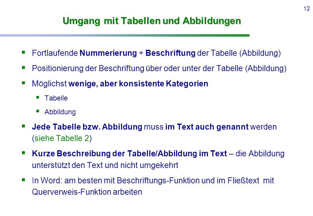 12 Umgang mit Tabellen und Abbildungen  Fortlaufende Nummerierung + Beschriftung der Tabelle (Abbildung)  Positionierung der Beschriftung über oder