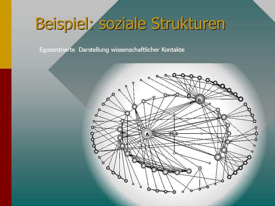 Beispiel: soziale Strukturen Egozentrierte Darstellung wissenschaftlicher Kontakte