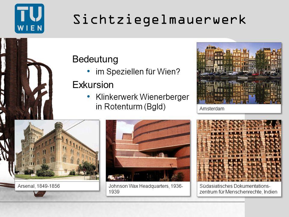 Sichtziegelmauerwerk Bedeutung im Speziellen für Wien.