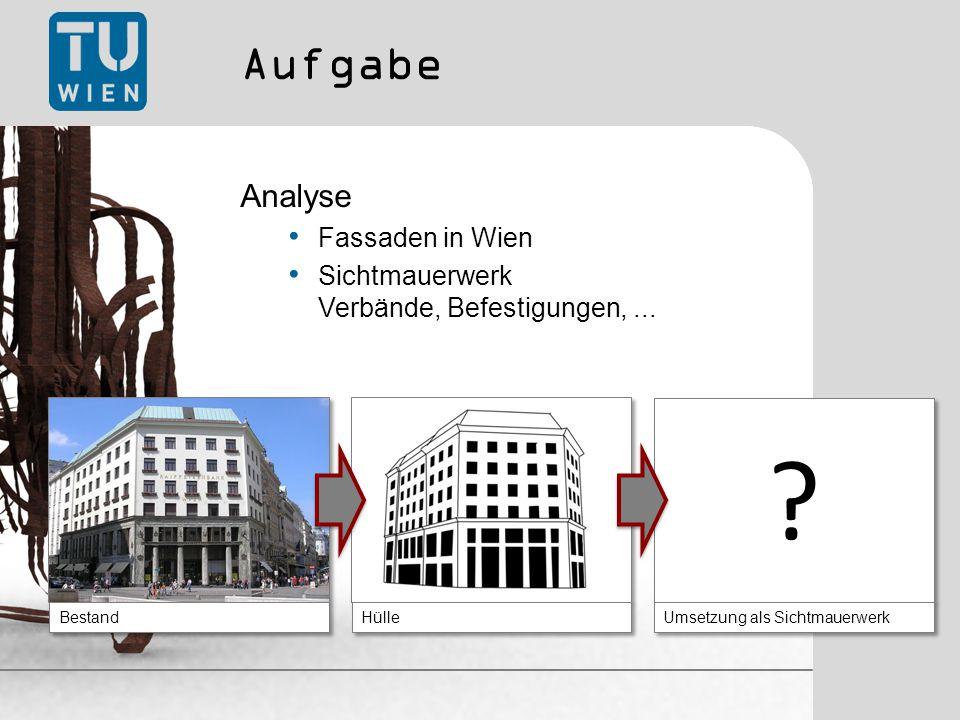 Aufgabe Analyse Fassaden in Wien Sichtmauerwerk Verbände, Befestigungen,...