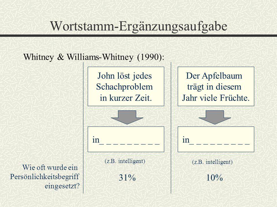Wortstamm-Ergänzungsaufgabe Whitney & Williams-Whitney (1990): John löst jedes Schachproblem in kurzer Zeit. Der Apfelbaum trägt in diesem Jahr viele