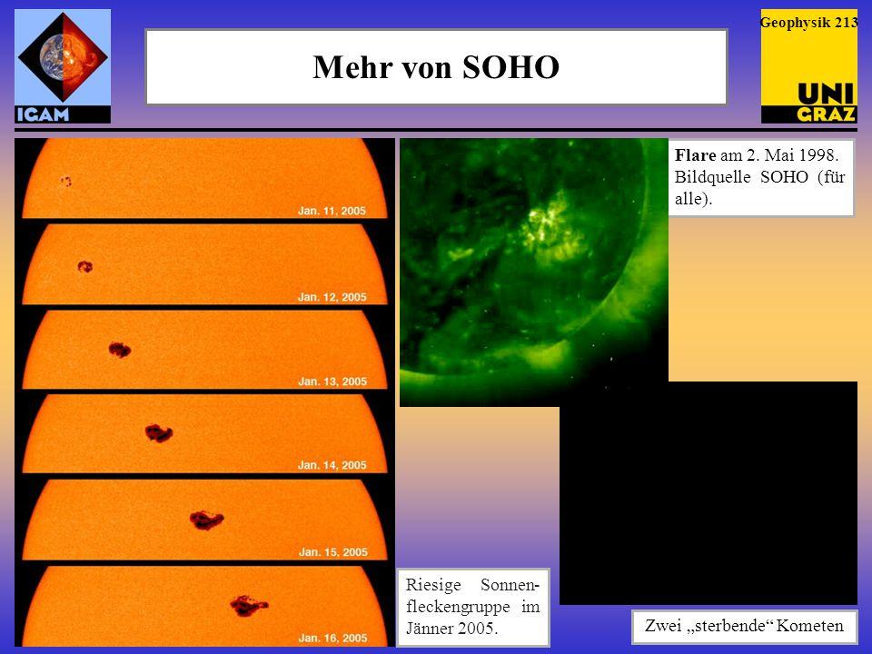 """Mehr von SOHO Geophysik 213 Riesige Sonnen- fleckengruppe im Jänner 2005. Flare am 2. Mai 1998. Bildquelle SOHO (für alle). Zwei """"sterbende"""" Kometen"""