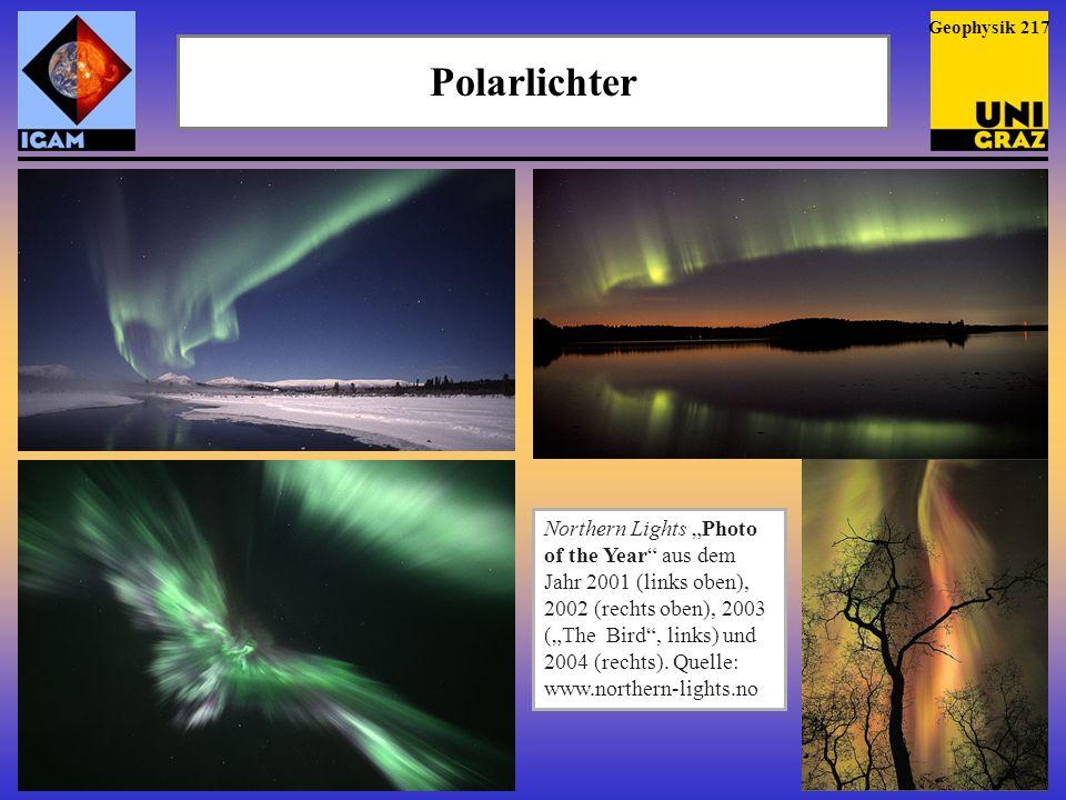 """Polarlichter Northern Lights """"Photo of the Year"""" aus dem Jahr 2001 (links oben), 2002 (rechts oben), 2003 (""""The Bird"""", links) und 2004 (rechts). Quell"""