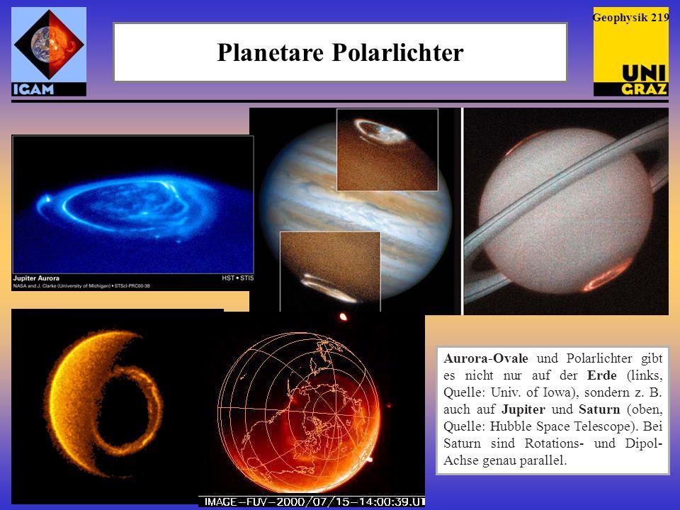 Planetare Polarlichter Aurora-Ovale und Polarlichter gibt es nicht nur auf der Erde (links, Quelle: Univ. of Iowa), sondern z. B. auch auf Jupiter und