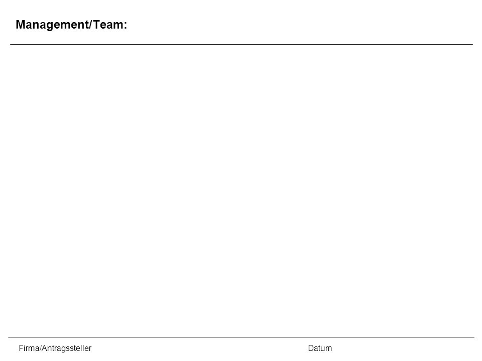 Firma/AntragsstellerDatum Management/Team:
