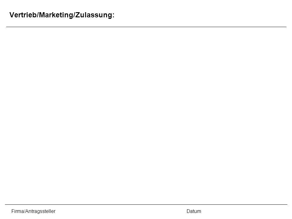 Firma/AntragsstellerDatum Vertrieb/Marketing/Zulassung: