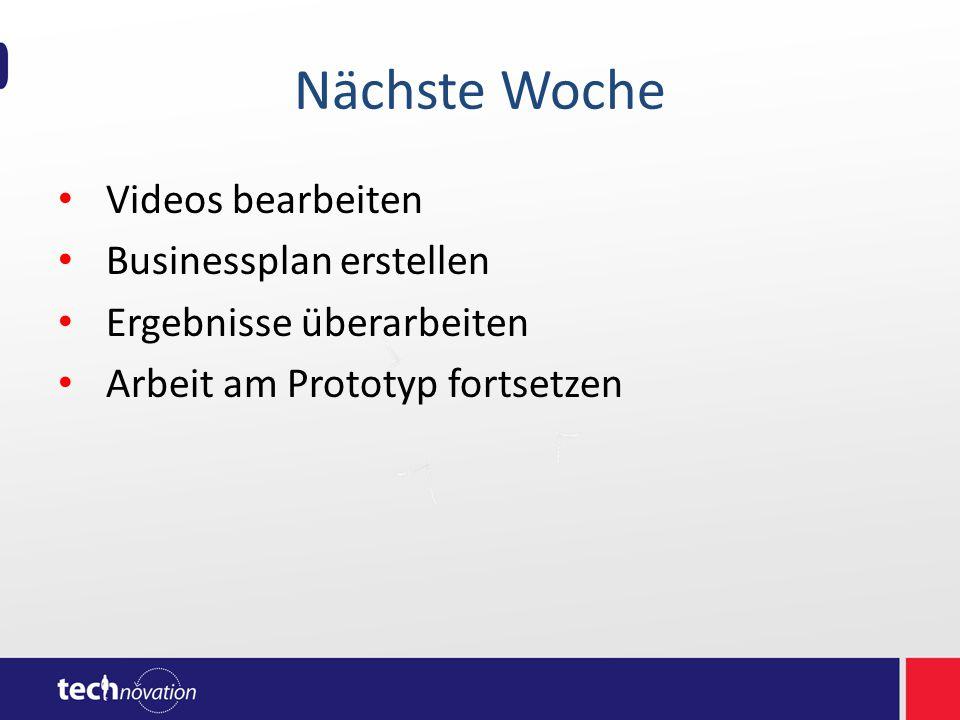 Nächste Woche Videos bearbeiten Businessplan erstellen Ergebnisse überarbeiten Arbeit am Prototyp fortsetzen