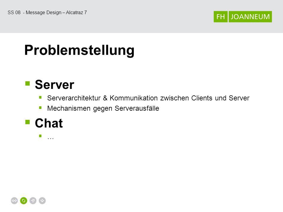SS 08 - Message Design – Alcatraz 7 Problemstellung  Server  Serverarchitektur & Kommunikation zwischen Clients und Server  Mechanismen gegen Serverausfälle  Chat  …