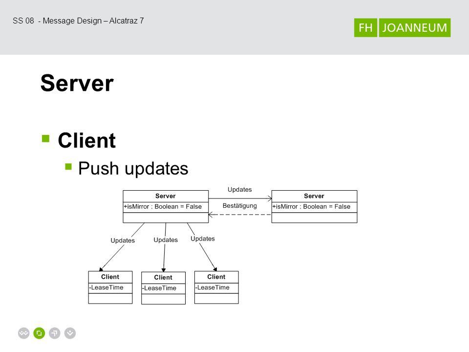 SS 08 - Message Design – Alcatraz 7 Server  Client  Push & Pull updates = Lease
