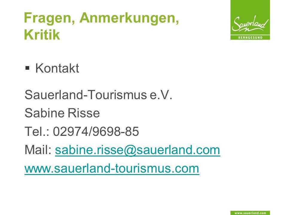 Fragen, Anmerkungen, Kritik  Kontakt Sauerland-Tourismus e.V.