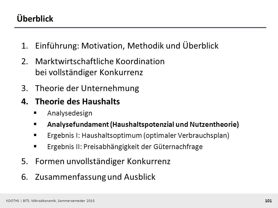 KOOTHS   BiTS: Mikroökonomik, Sommersemester 2015 101 Überblick 1.Einführung: Motivation, Methodik und Überblick 2.Marktwirtschaftliche Koordination b
