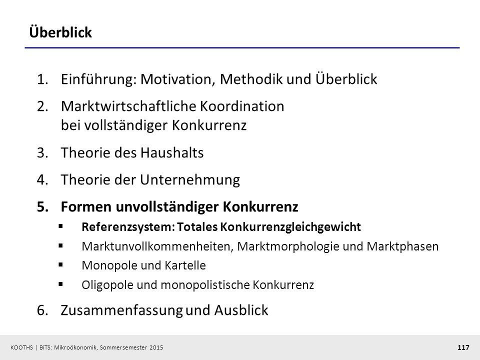 KOOTHS   BiTS: Mikroökonomik, Sommersemester 2015 117 Überblick 1.Einführung: Motivation, Methodik und Überblick 2.Marktwirtschaftliche Koordination b