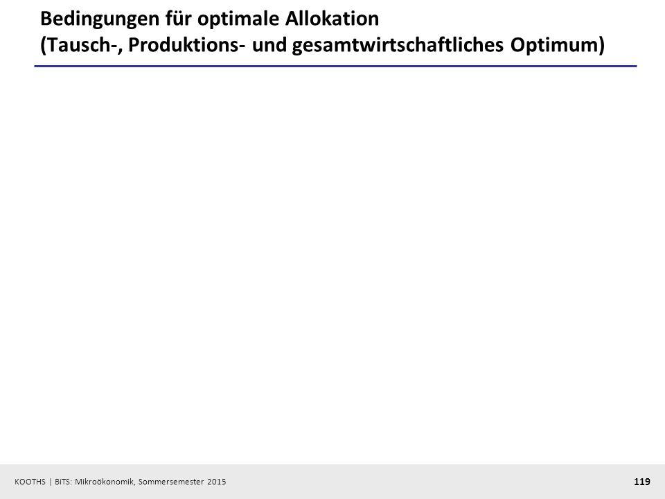 KOOTHS   BiTS: Mikroökonomik, Sommersemester 2015 119 Bedingungen für optimale Allokation (Tausch-, Produktions- und gesamtwirtschaftliches Optimum)