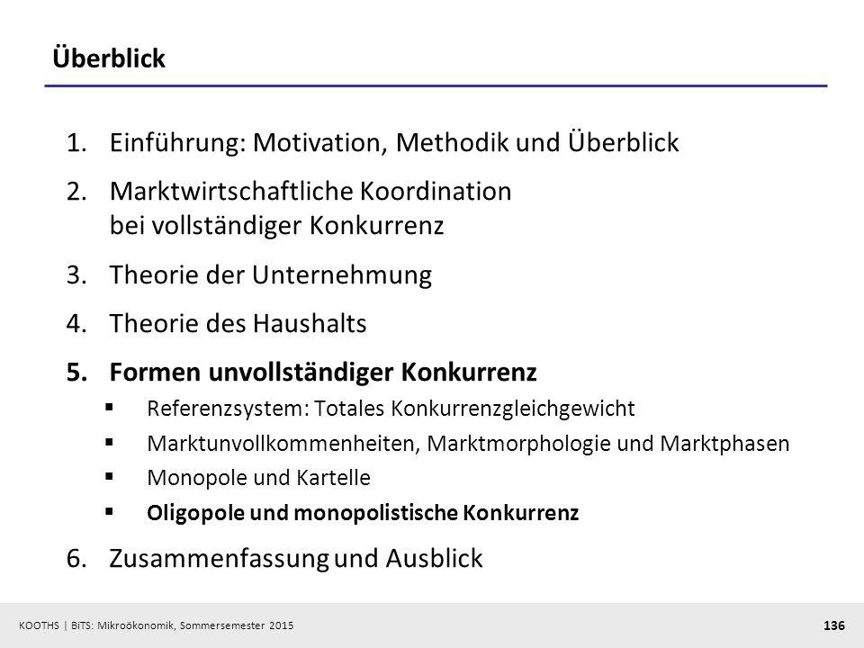 KOOTHS   BiTS: Mikroökonomik, Sommersemester 2015 136 Überblick 1.Einführung: Motivation, Methodik und Überblick 2.Marktwirtschaftliche Koordination b