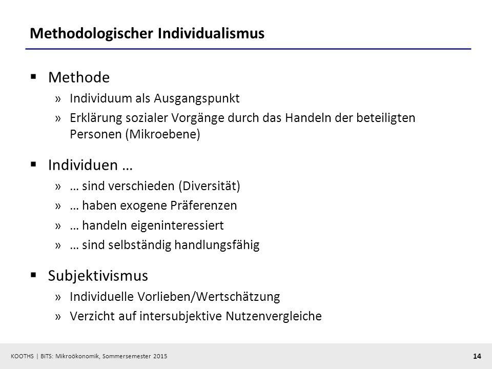 KOOTHS   BiTS: Mikroökonomik, Sommersemester 2015 14 Methodologischer Individualismus  Methode »Individuum als Ausgangspunkt »Erklärung sozialer Vorg
