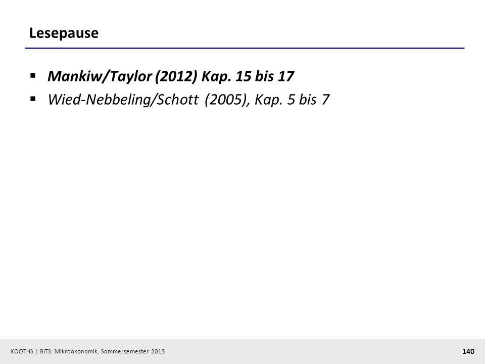 KOOTHS   BiTS: Mikroökonomik, Sommersemester 2015 140 Lesepause  Mankiw/Taylor (2012) Kap. 15 bis 17  Wied-Nebbeling/Schott (2005), Kap. 5 bis 7