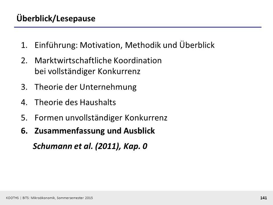 KOOTHS   BiTS: Mikroökonomik, Sommersemester 2015 141 Überblick/Lesepause 1.Einführung: Motivation, Methodik und Überblick 2.Marktwirtschaftliche Koor