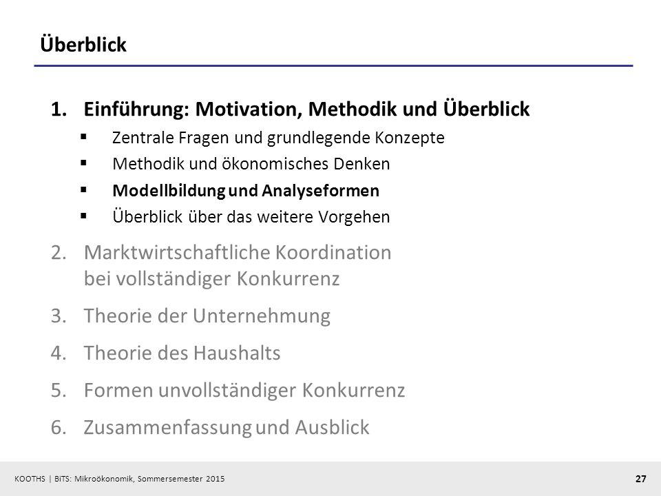 KOOTHS   BiTS: Mikroökonomik, Sommersemester 2015 27 Überblick 1.Einführung: Motivation, Methodik und Überblick  Zentrale Fragen und grundlegende Kon