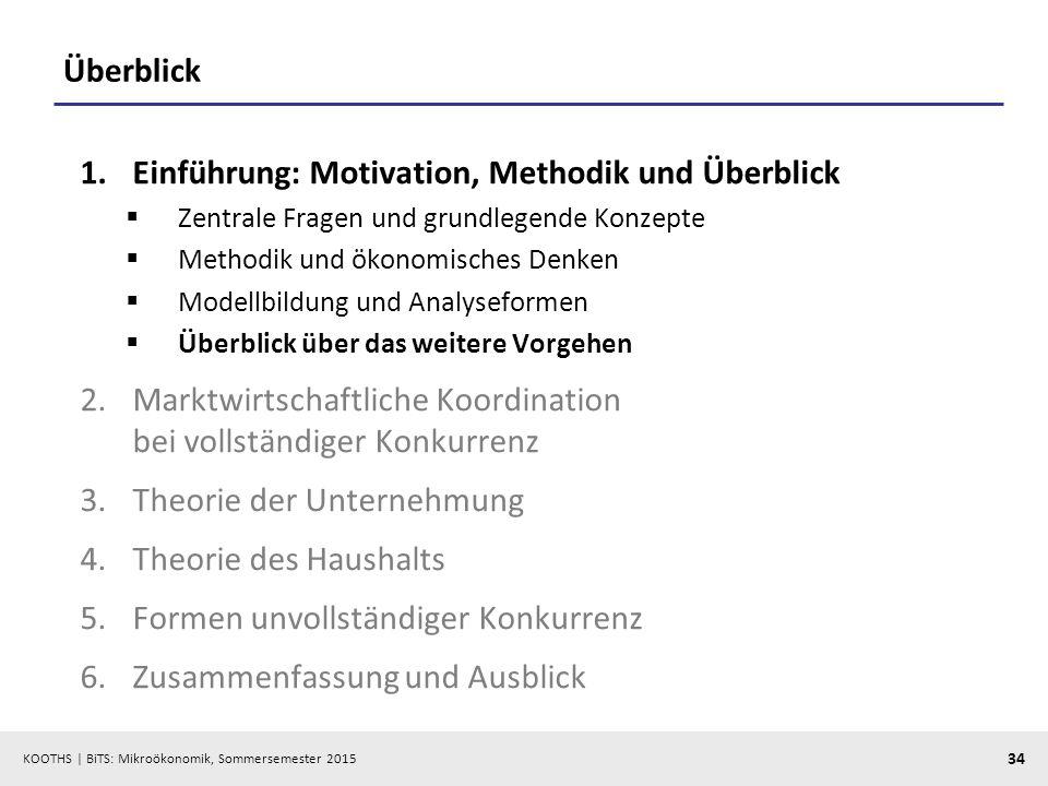 KOOTHS   BiTS: Mikroökonomik, Sommersemester 2015 34 Überblick 1.Einführung: Motivation, Methodik und Überblick  Zentrale Fragen und grundlegende Kon