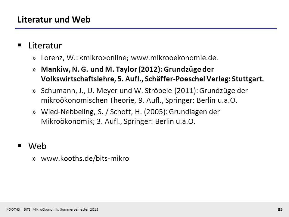 KOOTHS   BiTS: Mikroökonomik, Sommersemester 2015 35 Literatur und Web  Literatur »Lorenz, W.: online; www.mikrooekonomie.de. »Mankiw, N. G. und M. T