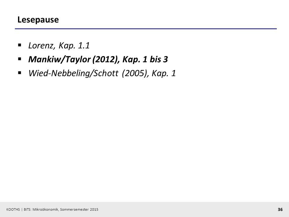 KOOTHS   BiTS: Mikroökonomik, Sommersemester 2015 36 Lesepause  Lorenz, Kap. 1.1  Mankiw/Taylor (2012), Kap. 1 bis 3  Wied-Nebbeling/Schott (2005),