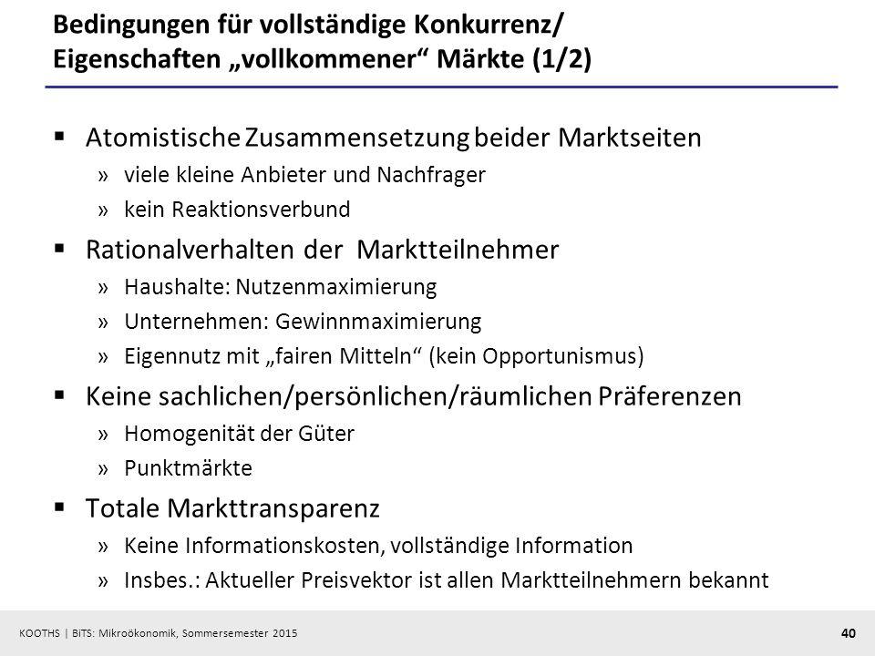 """KOOTHS   BiTS: Mikroökonomik, Sommersemester 2015 40 Bedingungen für vollständige Konkurrenz/ Eigenschaften """"vollkommener"""" Märkte (1/2)  Atomistische"""