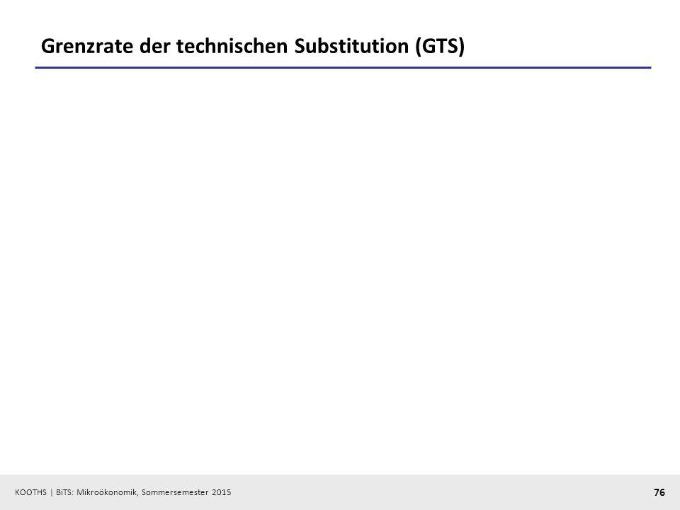 KOOTHS   BiTS: Mikroökonomik, Sommersemester 2015 76 Grenzrate der technischen Substitution (GTS)