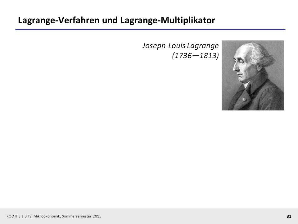 KOOTHS   BiTS: Mikroökonomik, Sommersemester 2015 81 Lagrange-Verfahren und Lagrange-Multiplikator Joseph-Louis Lagrange (1736—1813)