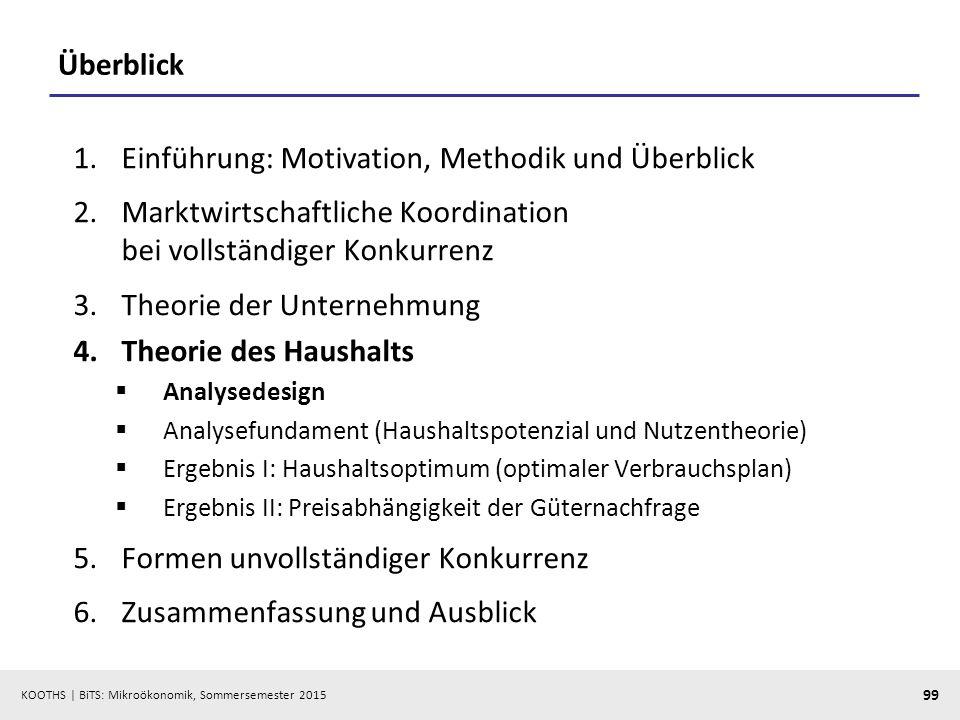 KOOTHS   BiTS: Mikroökonomik, Sommersemester 2015 99 Überblick 1.Einführung: Motivation, Methodik und Überblick 2.Marktwirtschaftliche Koordination be