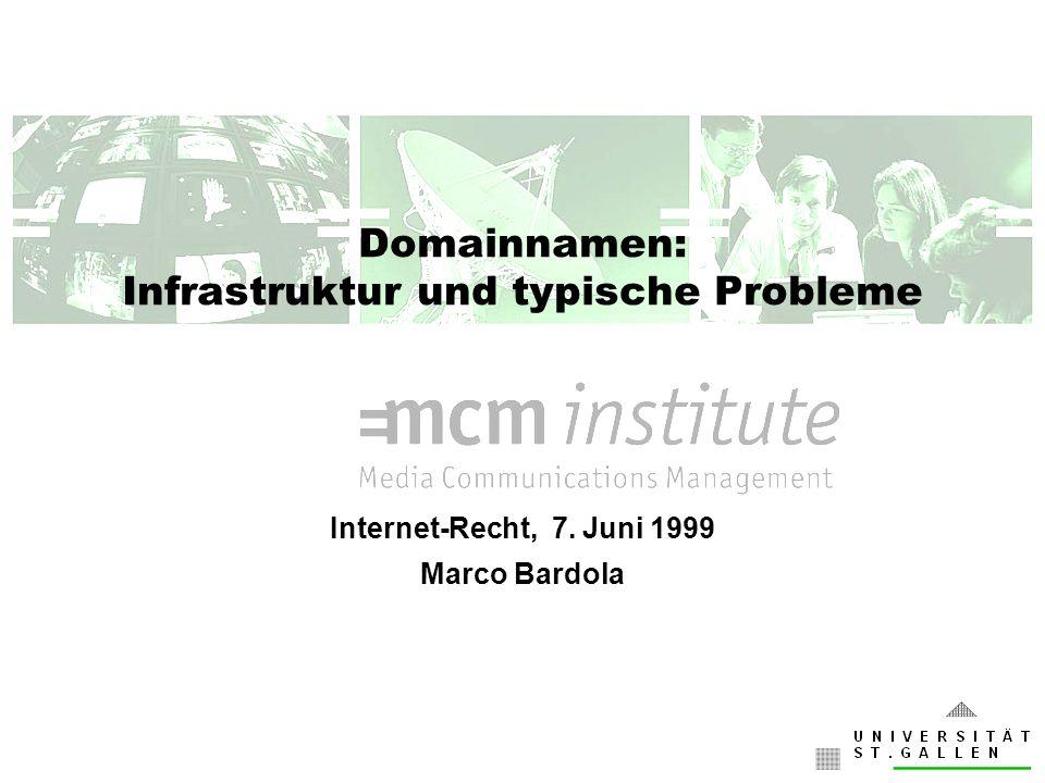 Domainnamen: Infrastruktur und typische Probleme Internet-Recht, 7. Juni 1999 Marco Bardola