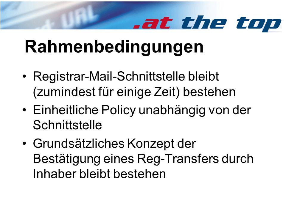 Rahmenbedingungen Registrar-Mail-Schnittstelle bleibt (zumindest für einige Zeit) bestehen Einheitliche Policy unabhängig von der Schnittstelle Grundsätzliches Konzept der Bestätigung eines Reg-Transfers durch Inhaber bleibt bestehen