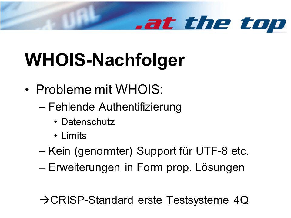 WHOIS-Nachfolger Probleme mit WHOIS: –Fehlende Authentifizierung Datenschutz Limits –Kein (genormter) Support für UTF-8 etc.