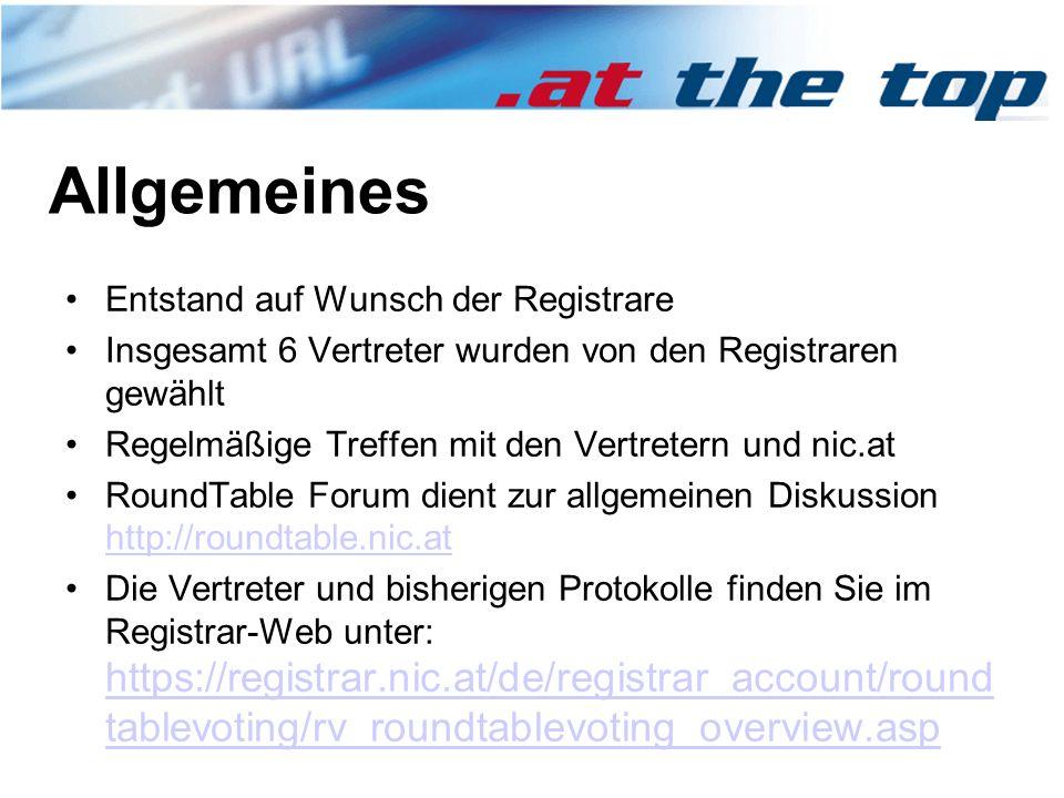 Allgemeines Entstand auf Wunsch der Registrare Insgesamt 6 Vertreter wurden von den Registraren gewählt Regelmäßige Treffen mit den Vertretern und nic.at RoundTable Forum dient zur allgemeinen Diskussion http://roundtable.nic.at http://roundtable.nic.at Die Vertreter und bisherigen Protokolle finden Sie im Registrar-Web unter: https://registrar.nic.at/de/registrar_account/round tablevoting/rv_roundtablevoting_overview.asp https://registrar.nic.at/de/registrar_account/round tablevoting/rv_roundtablevoting_overview.asp
