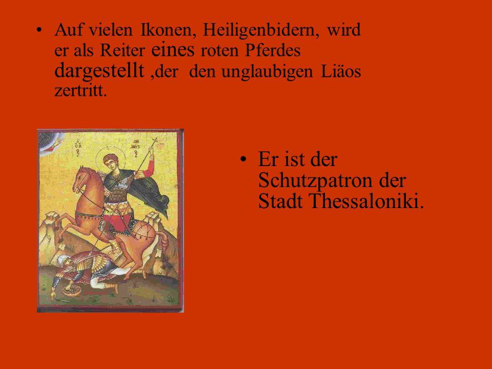 Im Gefägnis segnete er seinen Schüler Nestoras. So konnte Nestoras den Heiden Liäos beim Ringen besiegen. Nestoras wurde entköpft und Demetrios getöte