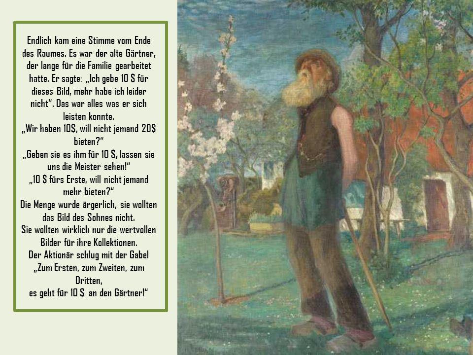 Es wurde eine große Auktion vorbereitet für die Gemälde. Viele einflussreiche Menschen kamen zusammen, sie waren begeistert sich die Sammlung anzusehe