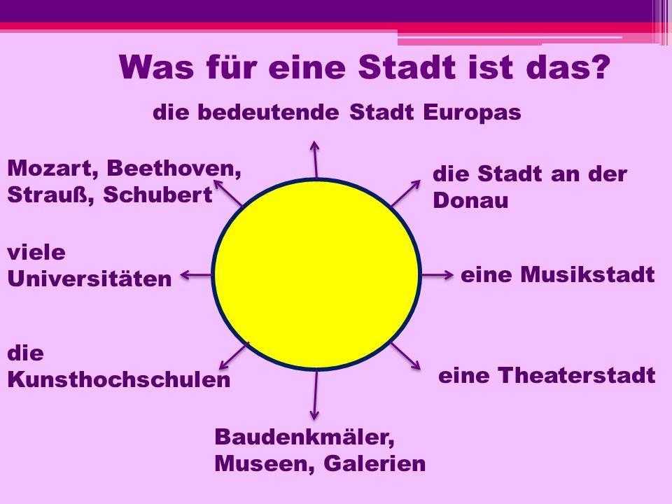 Was für eine Stadt ist das? die bedeutende Stadt Europas die Stadt an der Donau eine Musikstadt eine Theaterstadt Mozart, Beethoven, Strauß, Schubert