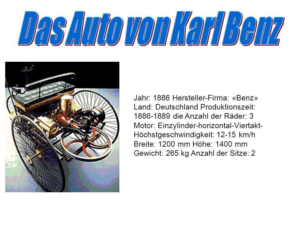 Jahr: 1886 Hersteller-Firma: «Benz» Land: Deutschland Produktionszeit: 1886-1889 die Anzahl der Räder: 3 Motor: Einzylinder-horizontal-Viertakt- Höchs
