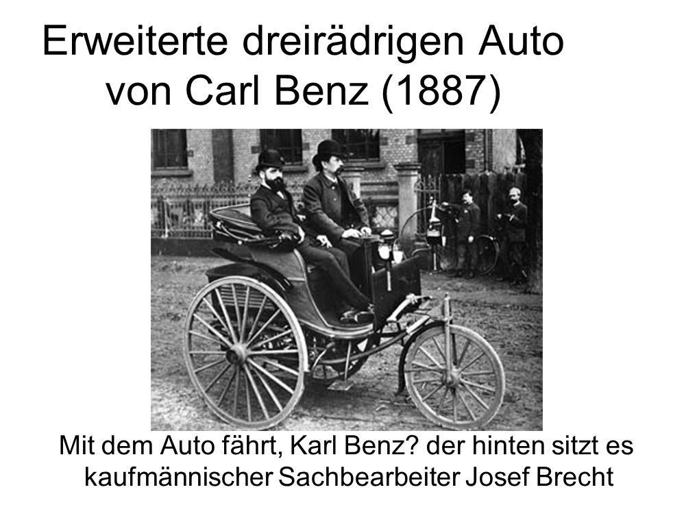 Erweiterte dreirädrigen Auto von Carl Benz (1887) Mit dem Auto fährt, Karl Benz? der hinten sitzt es kaufmännischer Sachbearbeiter Josef Brecht