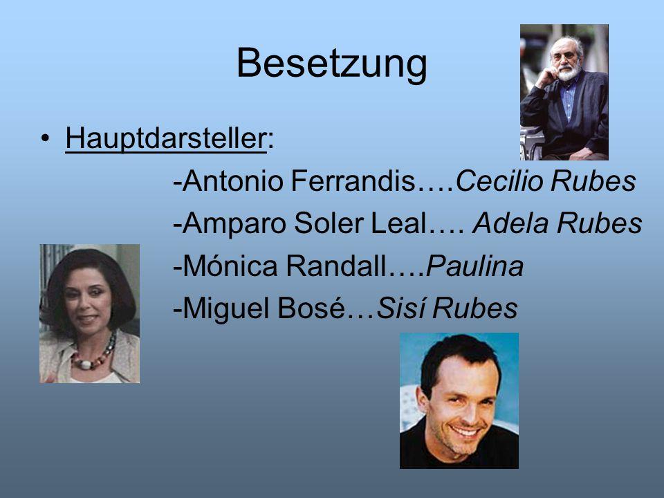 Besetzung Hauptdarsteller: -Antonio Ferrandis….Cecilio Rubes -Amparo Soler Leal…. Adela Rubes -Mónica Randall….Paulina -Miguel Bosé…Sisí Rubes