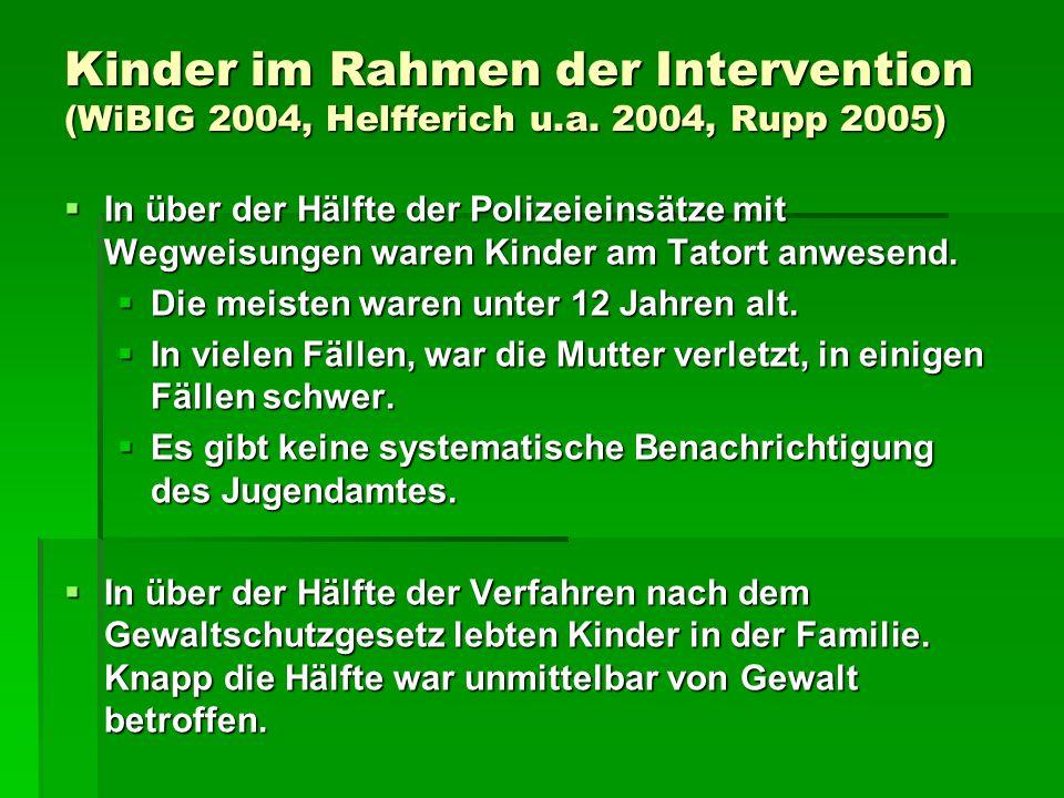 Kinder im Rahmen der Intervention (WiBIG 2004, Helfferich u.a. 2004, Rupp 2005)  In über der Hälfte der Polizeieinsätze mit Wegweisungen waren Kinder