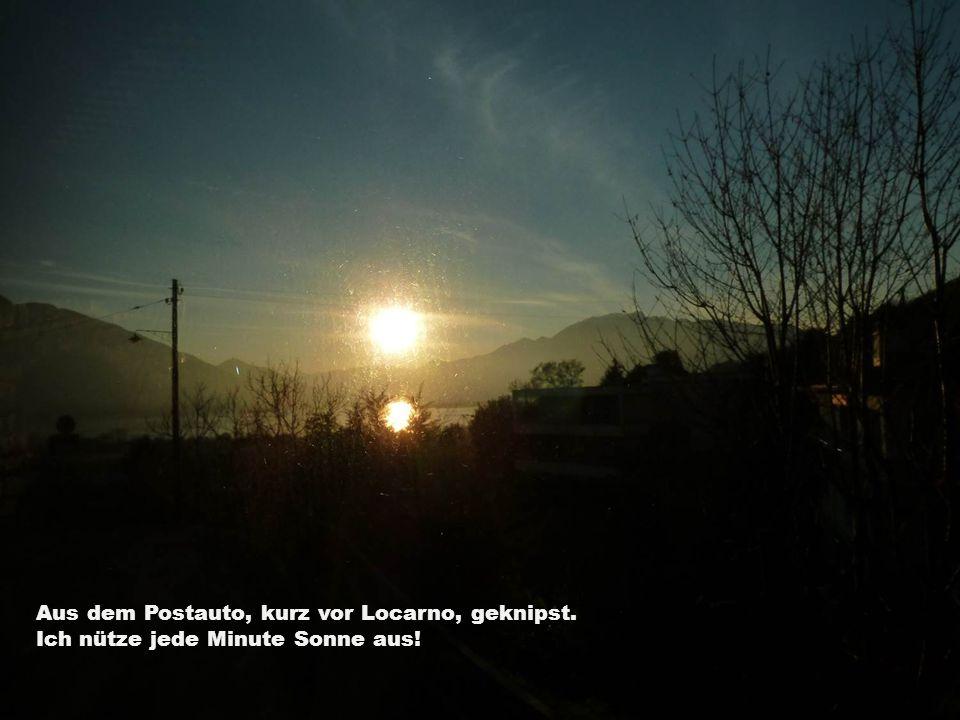 Aus dem Postauto, kurz vor Locarno, geknipst. Ich nütze jede Minute Sonne aus!