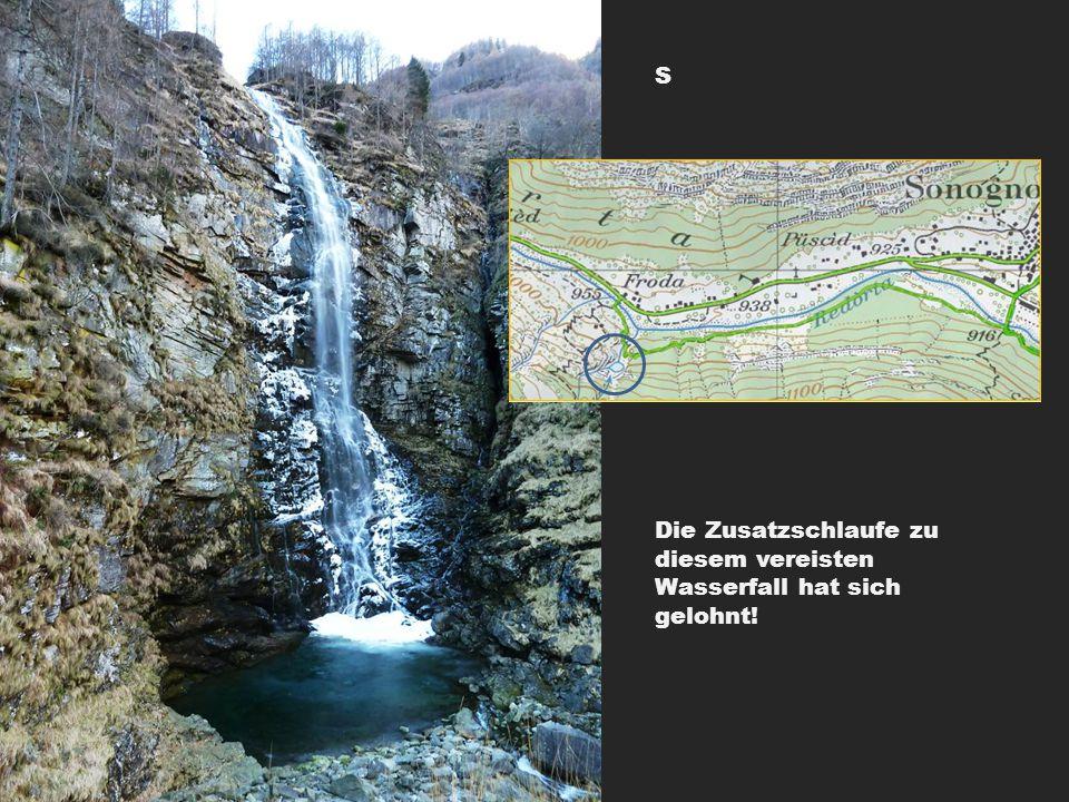 Die Zusatzschlaufe zu diesem vereisten Wasserfall hat sich gelohnt! S