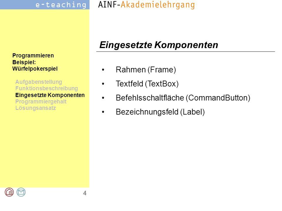 4 Programmieren Beispiel: Würfelpokerspiel Aufgabenstellung Funktionsbeschreibung Eingesetzte Komponenten Programmiergehalt Lösungsansatz Eingesetzte Komponenten Rahmen (Frame) Textfeld (TextBox) Befehlsschaltfläche (CommandButton) Bezeichnungsfeld (Label)