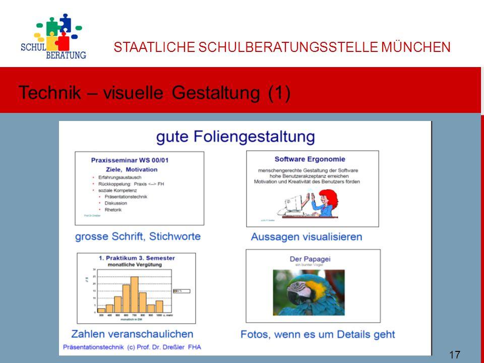 STAATLICHE SCHULBERATUNGSSTELLE MÜNCHEN Technik – visuelle Gestaltung (1) Ulbricht SBMuc 11/2013 17