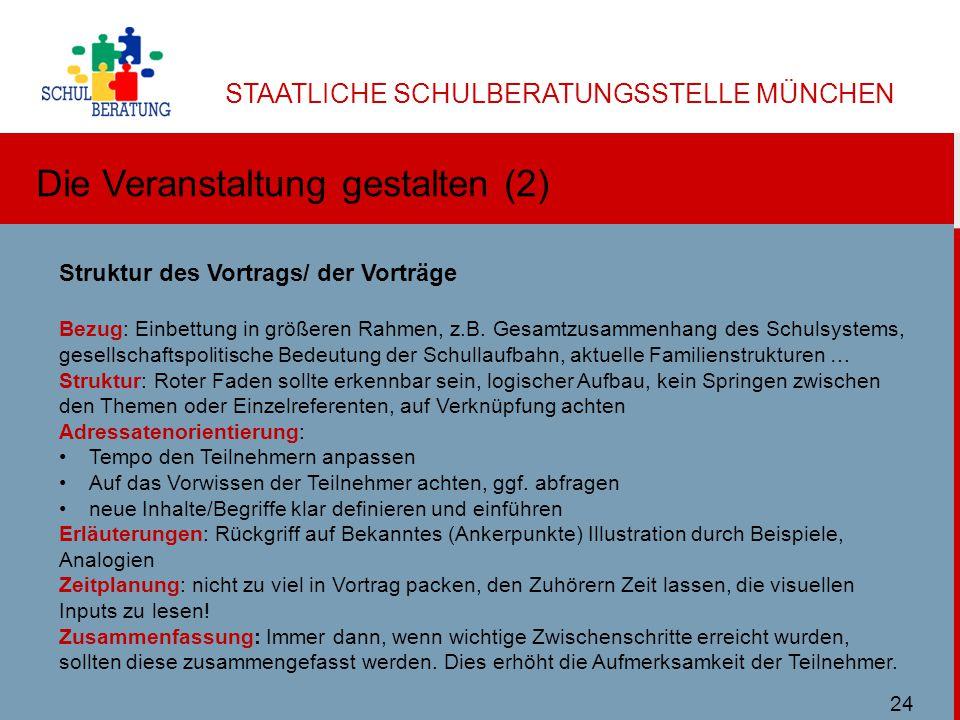 STAATLICHE SCHULBERATUNGSSTELLE MÜNCHEN Die Veranstaltung gestalten (2) Ulbricht SBMuc 11/2013 Struktur des Vortrags/ der Vorträge Bezug: Einbettung in größeren Rahmen, z.B.