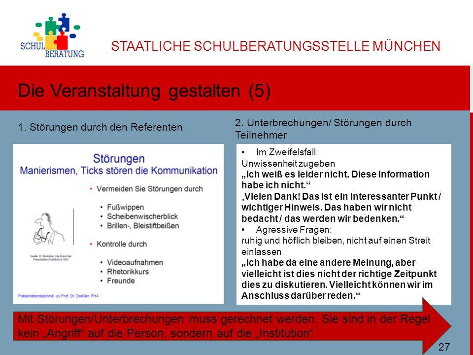 """STAATLICHE SCHULBERATUNGSSTELLE MÜNCHEN Die Veranstaltung gestalten (5) Ulbricht SBMuc 11/2013 Im Zweifelsfall: Unwissenheit zugeben """"Ich weiß es leider nicht."""