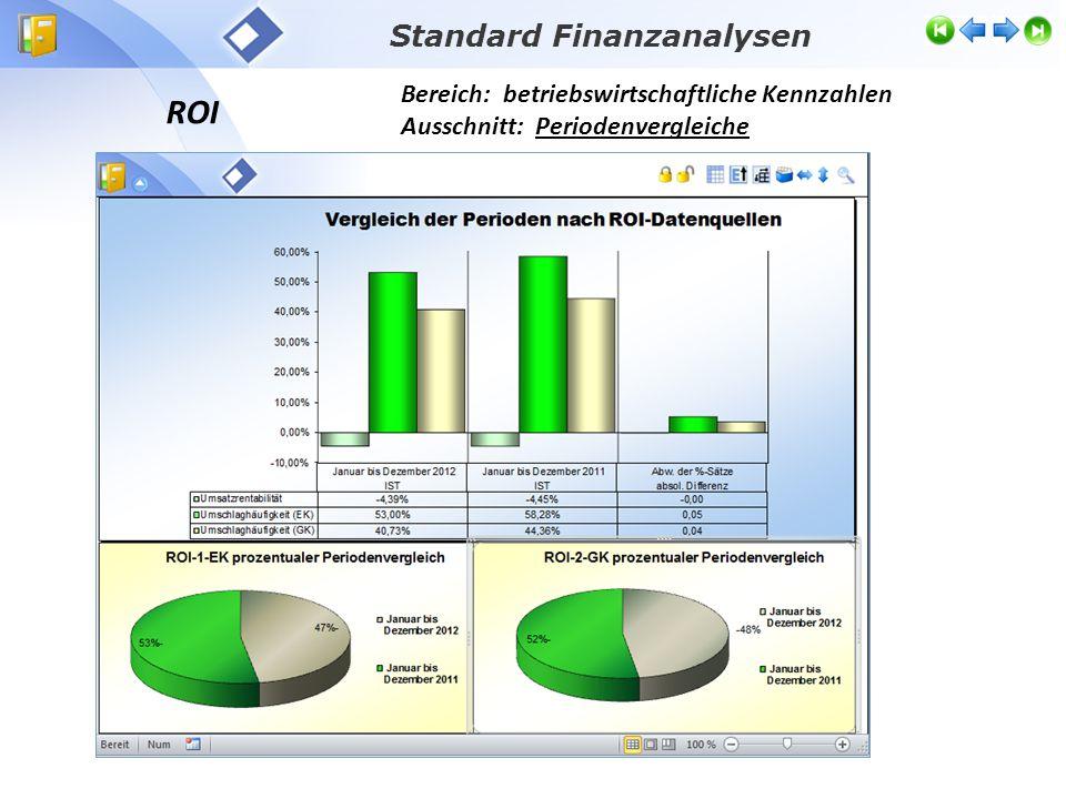 ROI Bereich: betriebswirtschaftliche Kennzahlen Ausschnitt: Periodenvergleiche Standard Finanzanalysen
